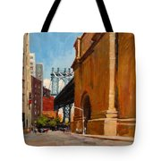 Manhattan Bridge From  Front Street, Brooklyn Tote Bag
