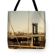 Manhattan Bridge From The Brooklyn Bridge  Tote Bag