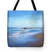 Manhattan Pier Blue Art Tote Bag