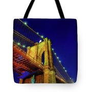 Manhattan Skyline From The Brooklyn Bridge At Dusk Tote Bag
