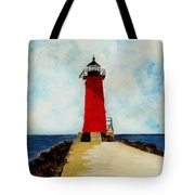 Manistique Breakwater Lighthouse Tote Bag