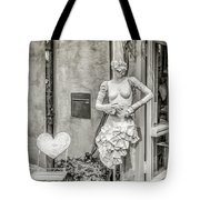Mannequin On The Street Bw Tote Bag