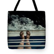 Mans Feet In Sandals Standing Tote Bag