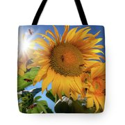 Many Bees Flying Around Sunflowers Tote Bag