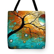 Many Moons Ago By Madart Tote Bag by Megan Duncanson
