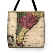 Map Of Argentina 1700 Tote Bag