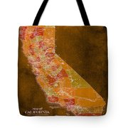 Map Of California, 1898, Orange Background Tote Bag