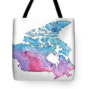 Map Of Canada With A Watercolor Texture In Pink, Blue And Purple Tote Bag
