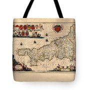 Map Of Cornwall 1646 Tote Bag