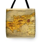 Map Of Cyprus 1562 Tote Bag