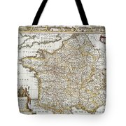 Map Of France, 1627 Tote Bag