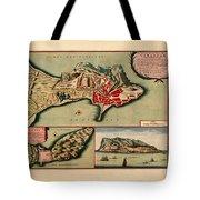 Map Of Gibraltar 1706 Tote Bag