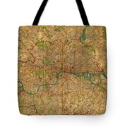 Map Of London England United Kingdom Vintage Street Map Schematic Circa 1899 On Old Worn Parchment  Tote Bag