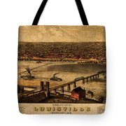 Map Of Louisville Kentucky Vintage Birds Eye View Aerial Schematic On Old Distressed Canvas Tote Bag