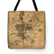 Map Of Madrid Spain Vintage Street Map Schematic Circa 1943 On Old Worn Parchment  Tote Bag