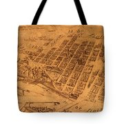 Map Of Minneapolis Minnesota Vintage Birds Eye View Aerial Schematic On Old Distressed Canvas Tote Bag
