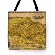 Map Of Nebraska 1954 Omaha Cornhusker State Aerial View Illustration Cartography On Worn Canvas Tote Bag