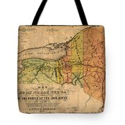 Map Of New York State Showing Original Indian Tribe Iroquois Landmarks And Territories Circa 1720 Tote Bag