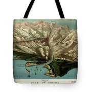 Map Of Panama Canal 1881 Tote Bag