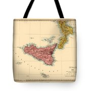 Map Of Sicily 1875 Tote Bag