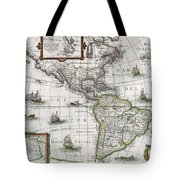 Map Of The Americas Tote Bag by Henricus Hondius