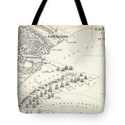 Map Of The Battle Of Copenhagen Tote Bag