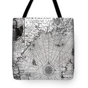 Map Of The Coast Of New England Tote Bag by Simon de Passe