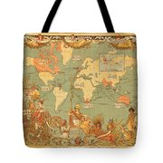 Map Of The Extent Of The British Empire 1886  Tote Bag