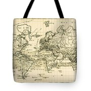 Map Of The World Using The Mercator Projection Tote Bag