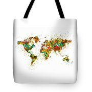 Map Of The World Watercolor Tote Bag