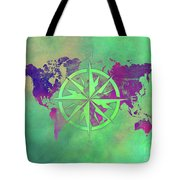 Map Of The World Wind Rose 3 Tote Bag