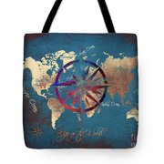 Map Of The World Wind Rose 4 Tote Bag