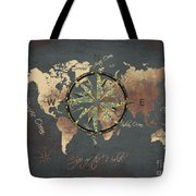 Map Of The World Wind Rose 5 Tote Bag