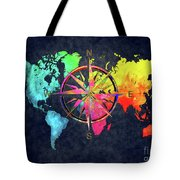 Map Of The World Wind Rose 6 Tote Bag