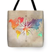 Map Of The World Wind Rose 7 Tote Bag