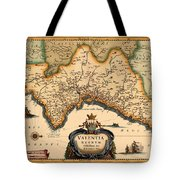 Map Of Valencia 1634 Tote Bag