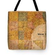 Map Of Wayne County Michigan Detroit Area Vintage Circa 1893 On Worn Distressed Canvas  Tote Bag