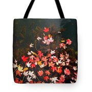 Maple Leaves On The Water  Tote Bag