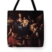Maratti Carlo Madonna And Child Enthroned With Angels And Saints Tote Bag