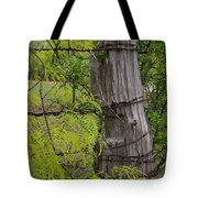 Marble Falls Texas Old Fence Post In Spring Tote Bag