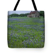 Marble Falls Texas Stone House And Bluebonnets Tote Bag
