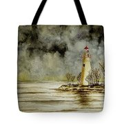 Marblehead Lighthouse In The Winter Tote Bag