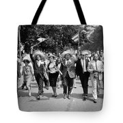 Marchers Wearing Hats Carry Puerto Rican Flags Down Constitution Avenue Tote Bag