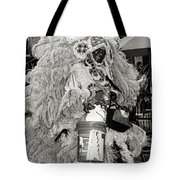 Mardi Gras Indian In Pirates Alley In Black And White Tote Bag