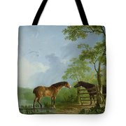 Mare And Stallion In A Landscape Tote Bag by Sawrey Gilpin