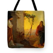 Maria Sister Of Lazarus Meets Jesus Who Is Going To Their House Tote Bag