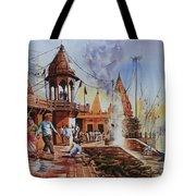 Marikarnika Ghat Varanasi Tote Bag