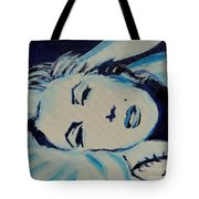 Marilyn In Blue Tote Bag