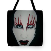 Face Black White Red Tote Bag