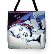 Marilyn Monroe Blue And Red Detail Tote Bag